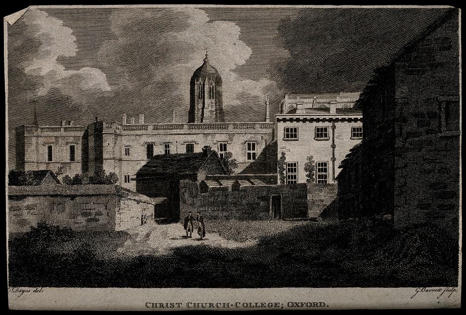 Гравюра. Меццо-тинто. Эдвард Дейес. «Церковь Христа в Оксфорде»