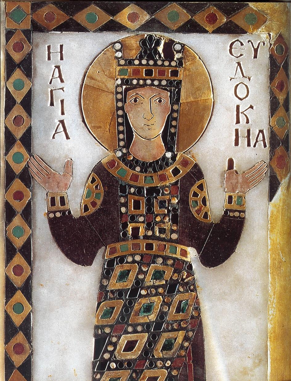 Икона. «Императрица Евдокия». Икона из мрамора, инкрустированная драгоценными камнями X века