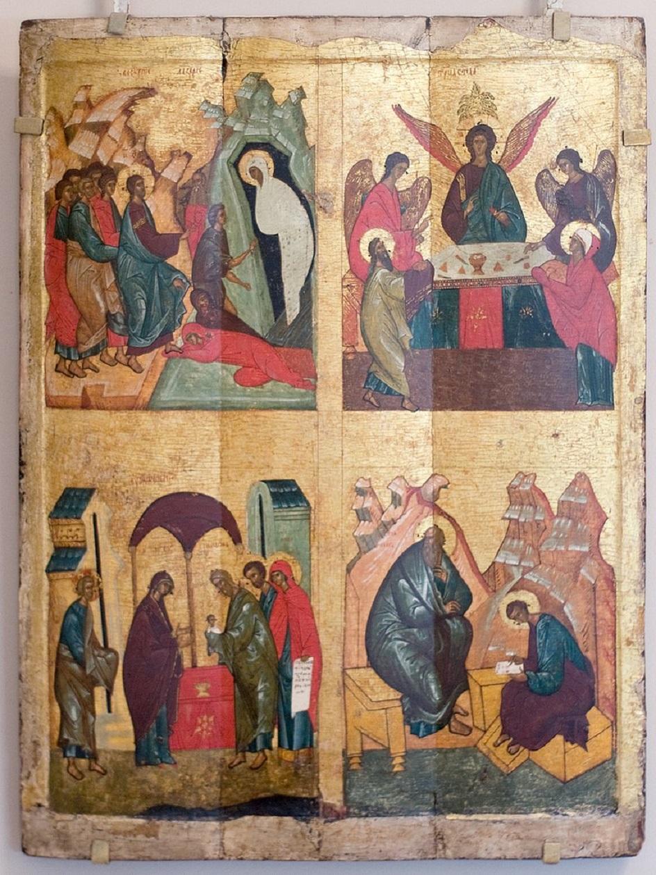 Икона. Четырехчастная икона Новгородской школы XV века