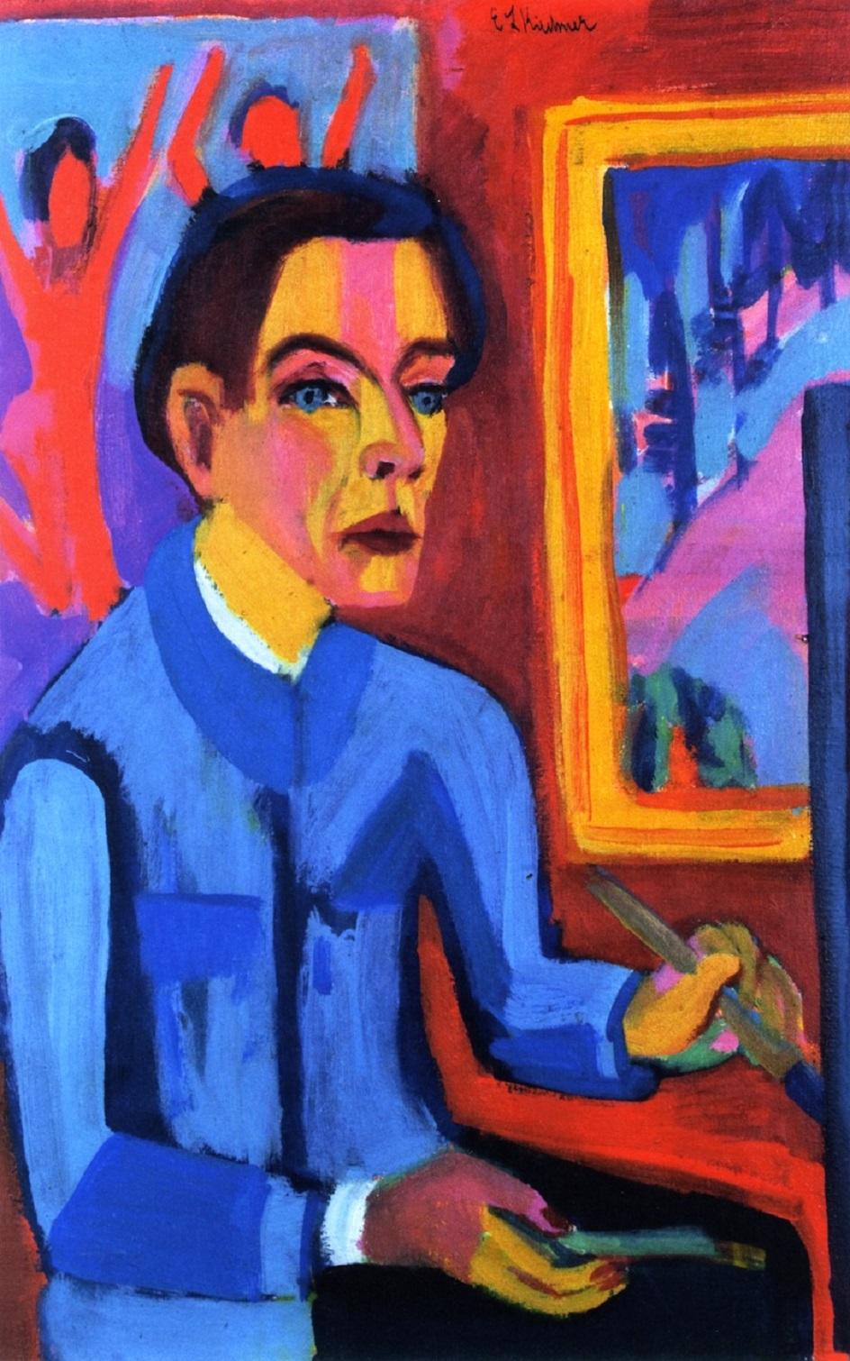 Эрнст Людвиг Кирхнер. «Автопортрет у окна», 1921