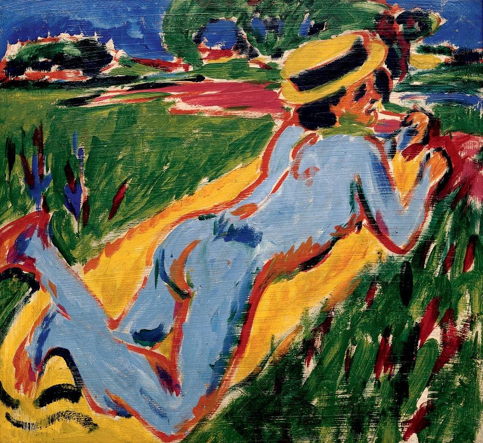 Эрнст Людвиг Кирхнер. «Лежащая обнаженная в соломенной шляпе», 1909