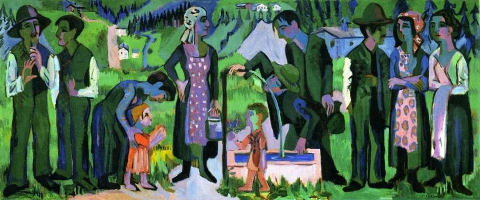 Эрнст Людвиг Кирхнер. «Воскресенье в Альпах. Сцена у колодца», 1925