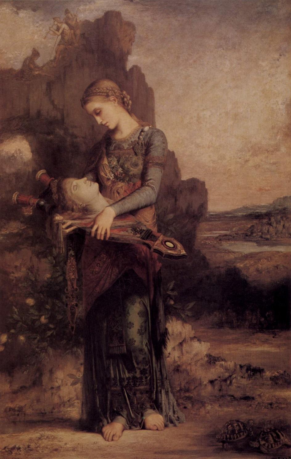 Символизм. Гюстав Моро. «Фракийская девушка с головой Орфея на его лире»
