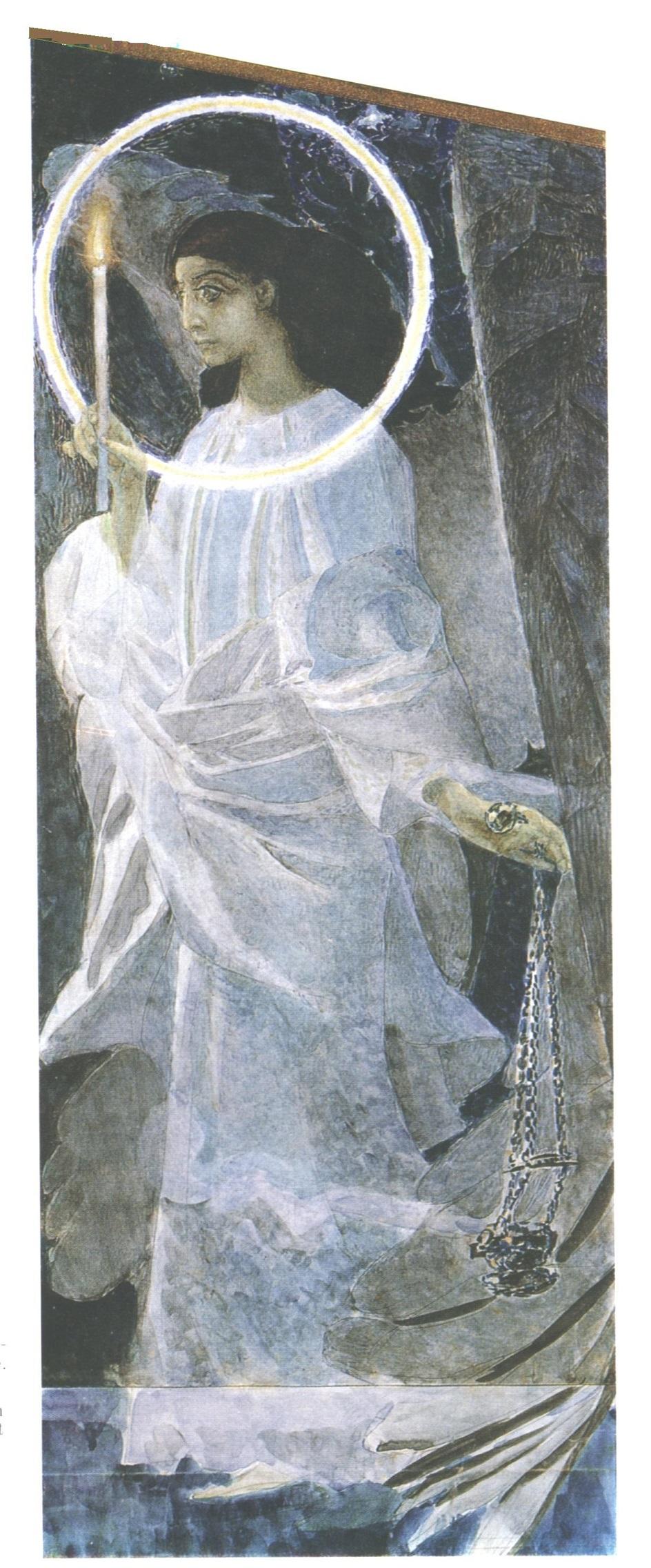 Символизм. Михаил Врубель. Эскиз к фреске «Ангел с кадилом и свечой»