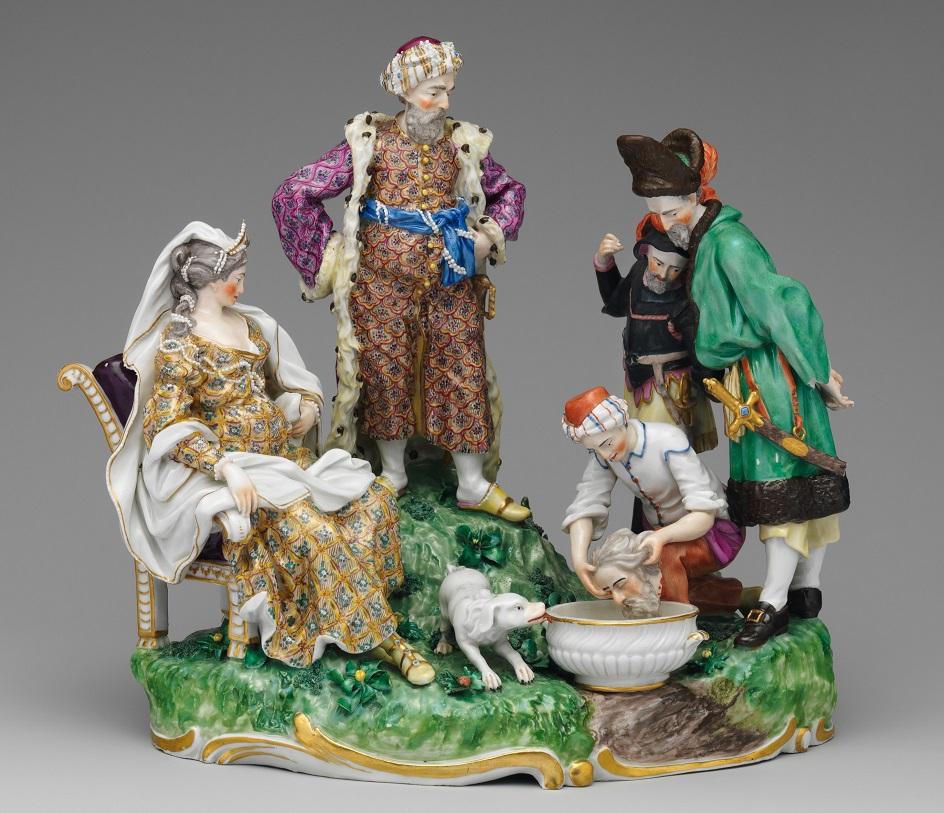 Фарфор Франкенталь. Скульптурная группа «Скифская царица Томирис и голова персидского царя Кира»