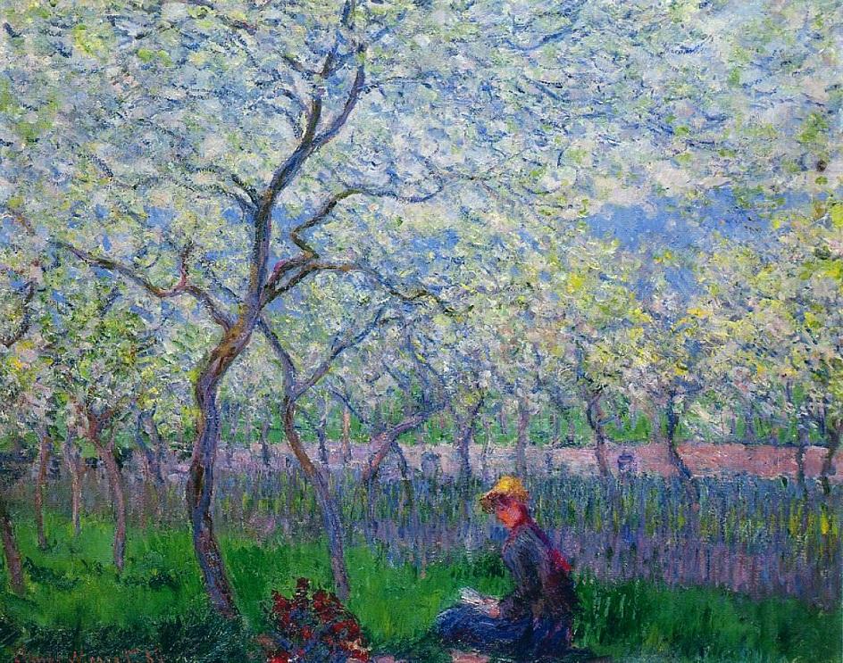 Весна на картинах. Клод Моне. «Фруктовый сад весной», 1886