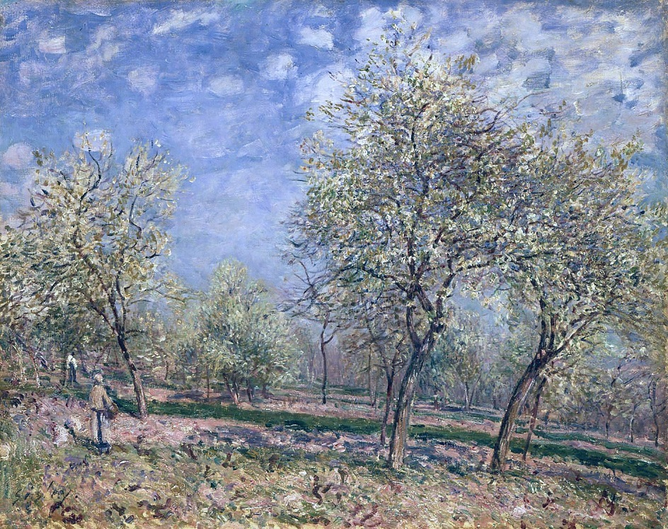 Весна на картинах. Сислей Альфред. «Яблони в цвету», 1880
