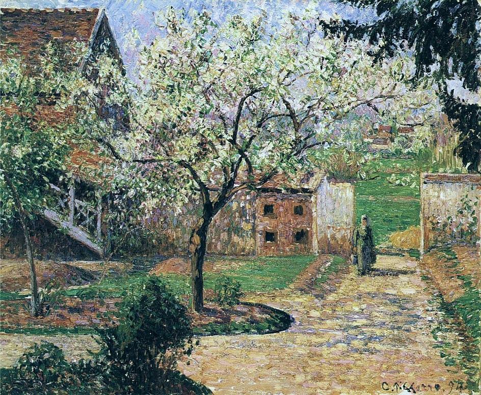 Весна на картинах. Камиль Писсарро. «Цветущая слива, Эраньи», 1894