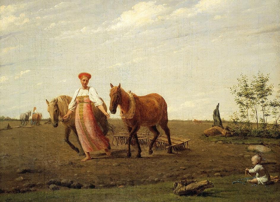 Весна на картинах. Венецианов Алексей. «На пашне. Весна», 1820-е
