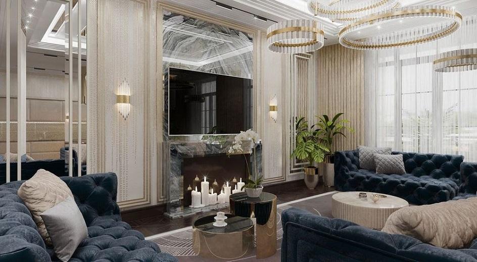 Стиль арт-деко в интерьере. Интерьер гостиной с камином и тремя диванами