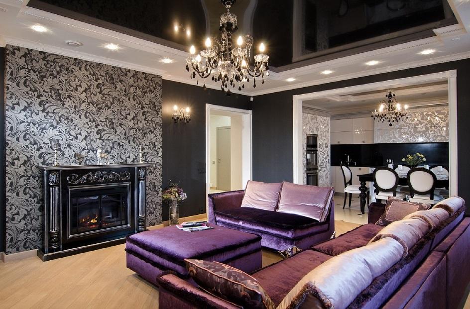 Стиль арт-деко в интерьере. Интерьер гостиной с камином черным глянцевым потолком