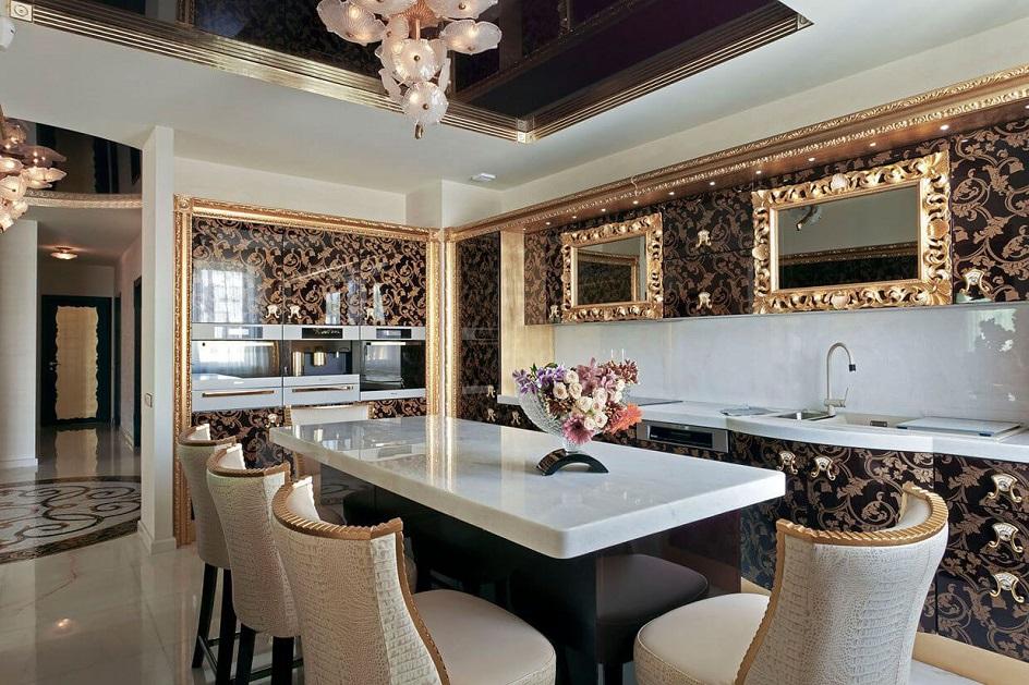 Стиль арт-деко в интерьере. Интерьер кухни с двухуровневым потолком