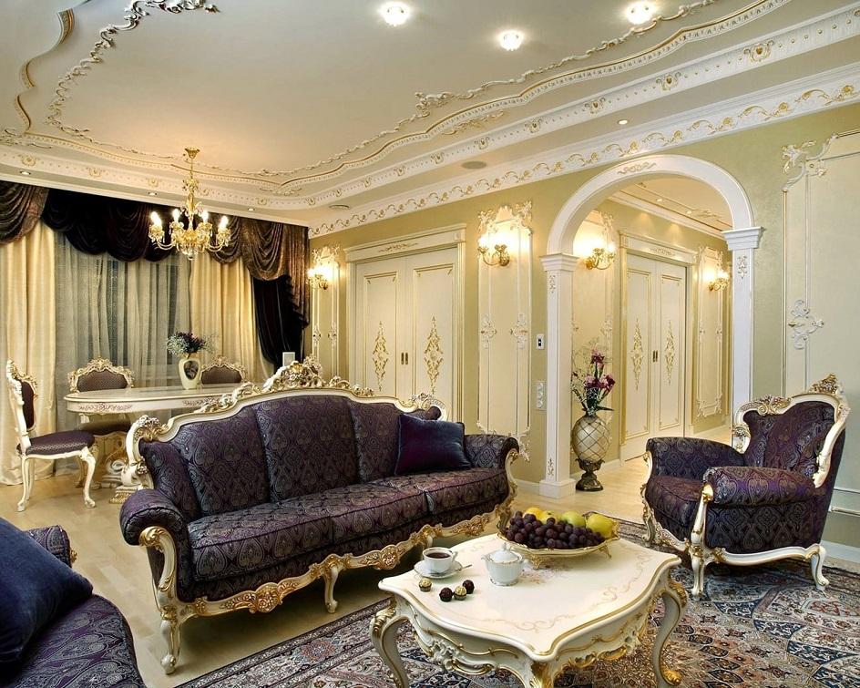 Барокко в интерьере. Гостиная с тёмной мебелью в стиле барокко