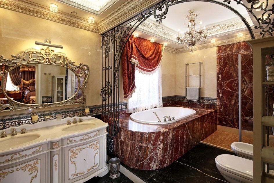 Барокко в интерьере. Ванная в стиле барокко