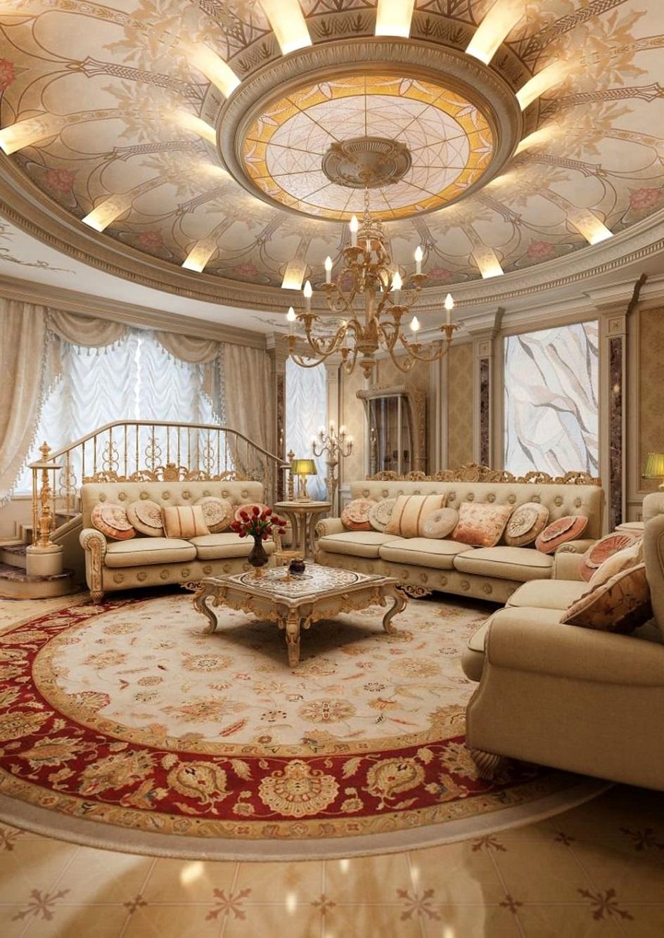 Барокко в интерьере. Гостиная со светлой мебелью в стиле барокко