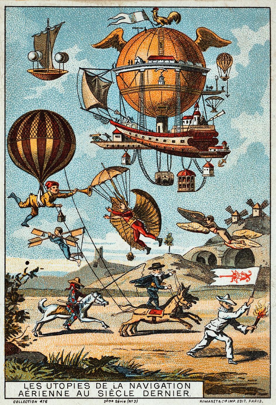 Стимпанк. Плакат «Утопии о летательных аппаратах» в стиле стимпанк. Конец XIX века