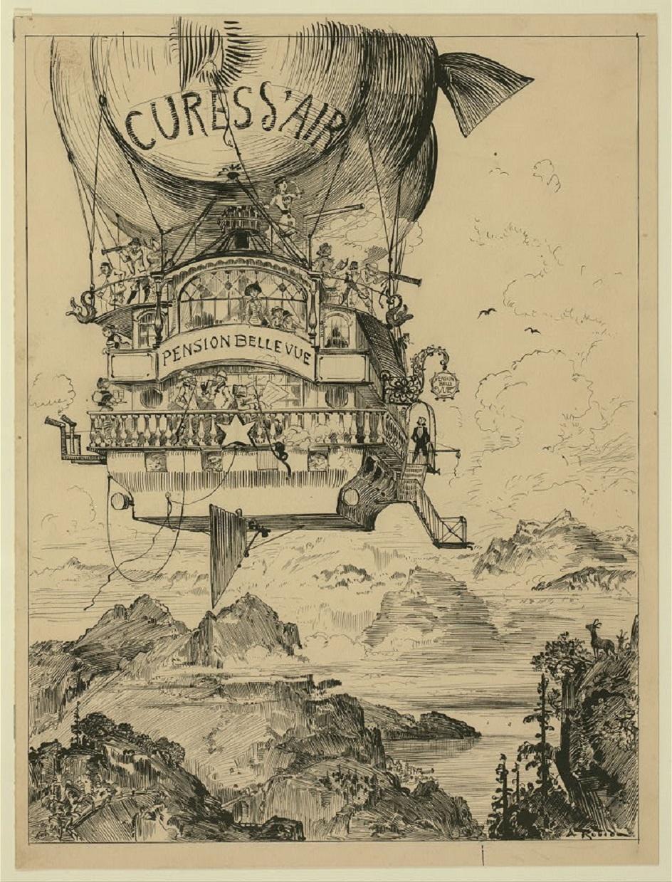 Стимпанк. Рисунок дирижабля в стиле стимпанк. Конец XIX века