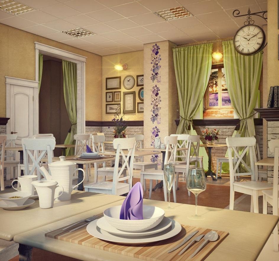 Прованс. Интерьер кафе с деревянной мебелью в стиле прованс