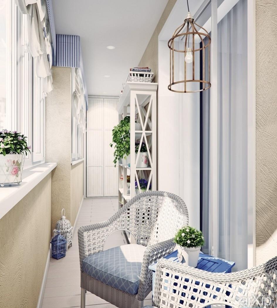 Прованс. Интерьер балкона с плетеной мебелью в стиле прованс