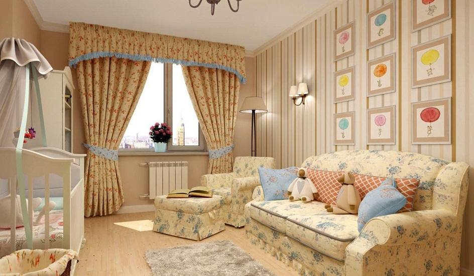 Прованс. Интерьер гостиной в бежевых тонах в стиле прованс