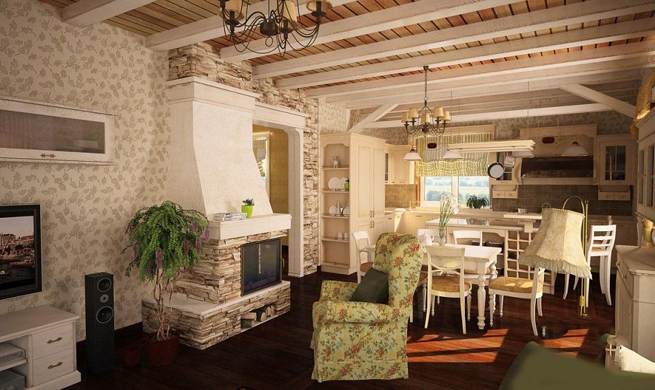 Прованс. Интерьер гостиной загородного дома с камином в стиле прованс