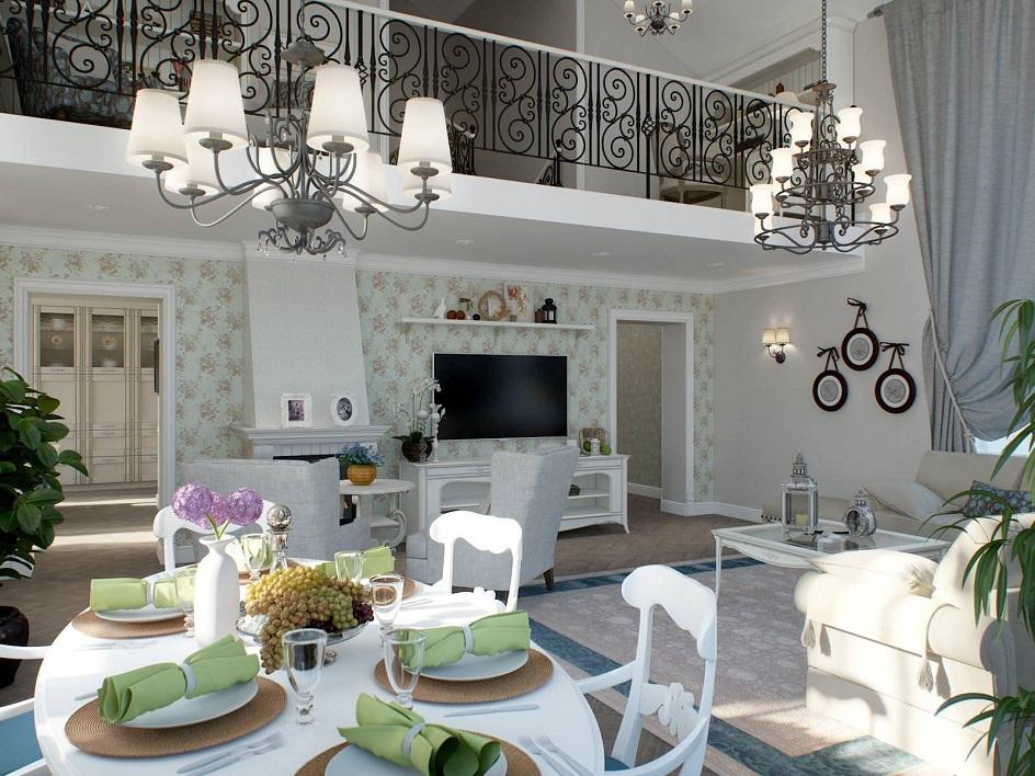 Прованс. Интерьер гостиной с камином и телевизором в стиле прованс