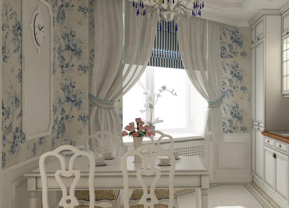 Прованс. Интерьер кухни в бело-голубых оттенках в стиле прованс