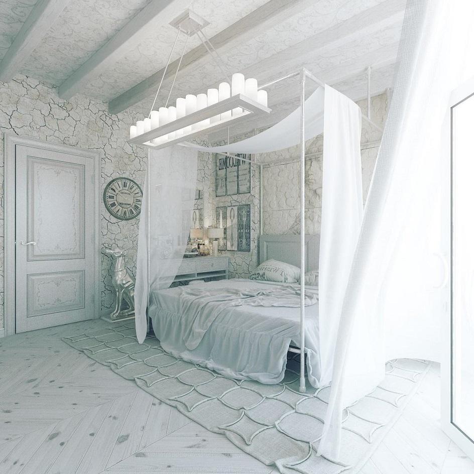Прованс. Интерьер спальни с кроватью и балдахином в стиле прованс