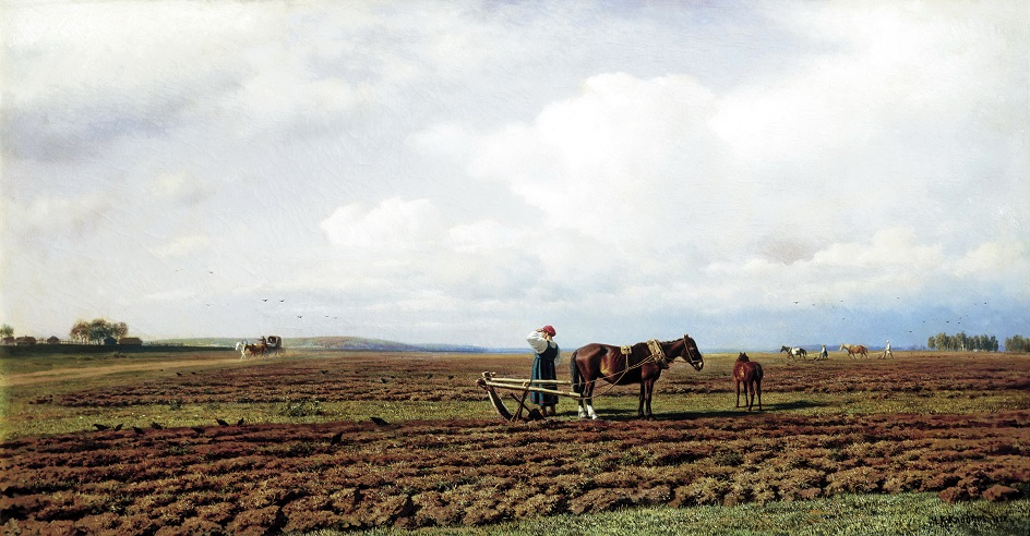 Картины русских художников о природе. Михаил Клодт. «На пашне»
