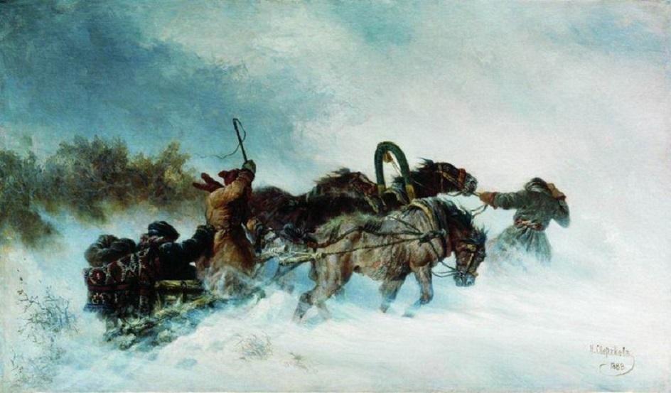 Картины русских художников о природе. Николай Сверчков. «Тройка зимой»