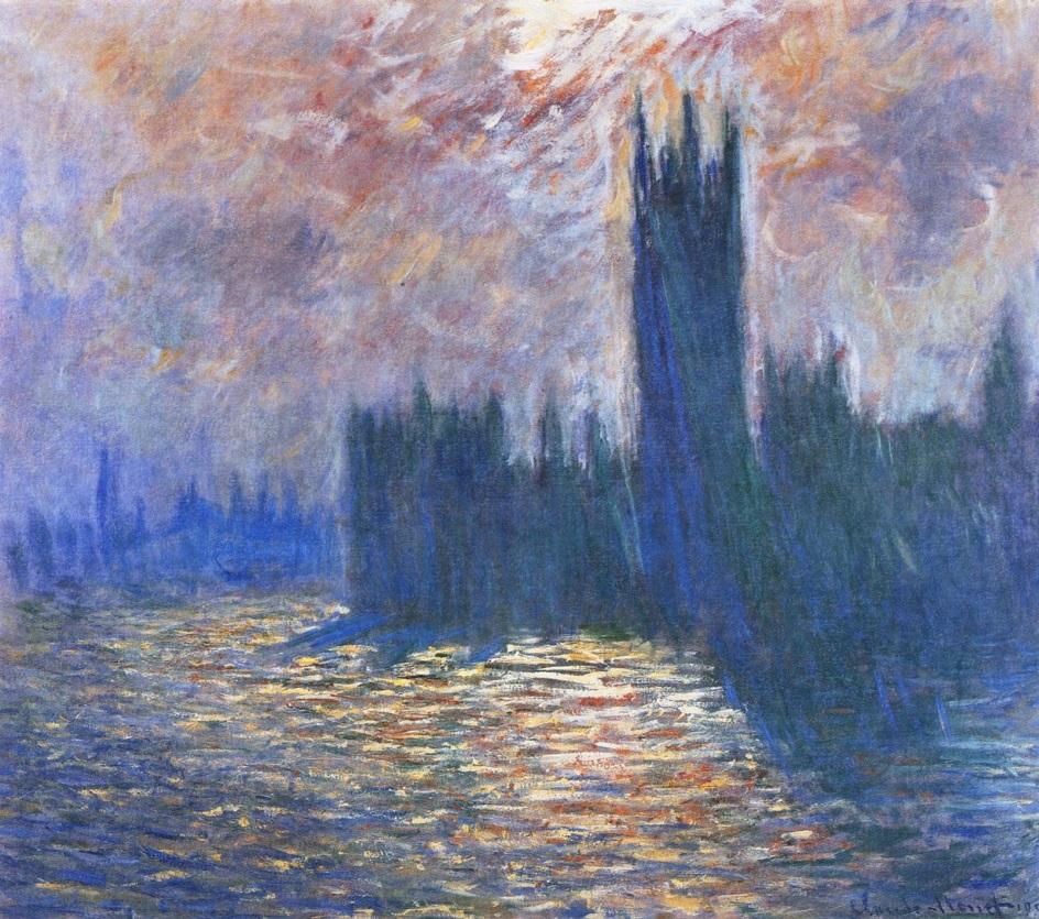 Река на картинах известных художников. Клод Моне. «Здание парламента, размышления о Темзе»