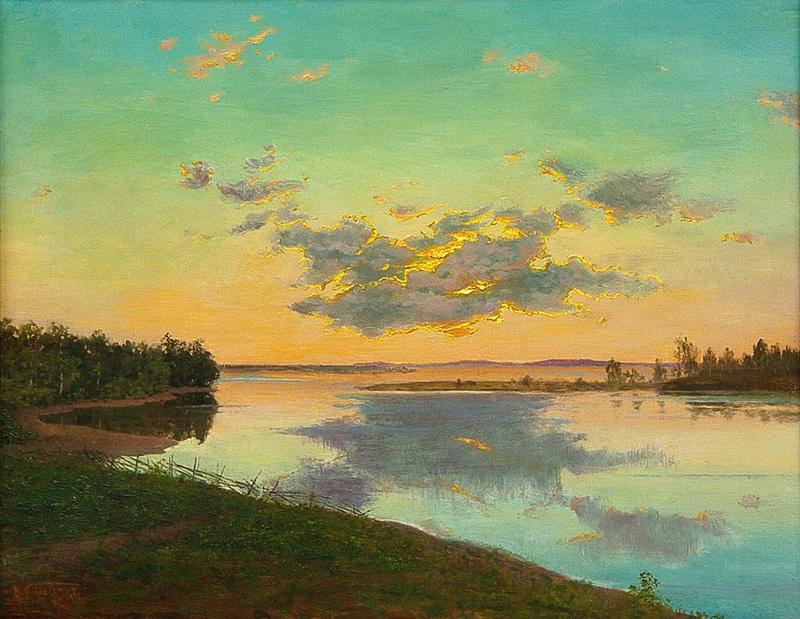 Река на картинах известных художников. Иван Шультце. «Тихий вечер»