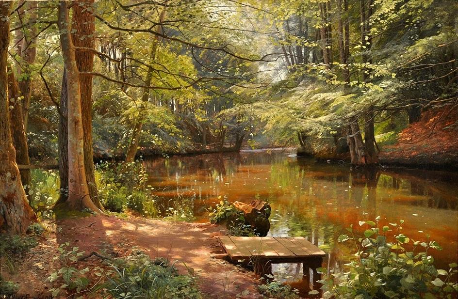 Река на картинах известных художников. Петер Мёрк Мёнстед. «Блики солнца на ручье Себю»