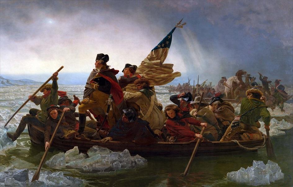 Река на картинах известных художников. Эмануэль Лойце. «Вашингтон переправляется через Делавэр»