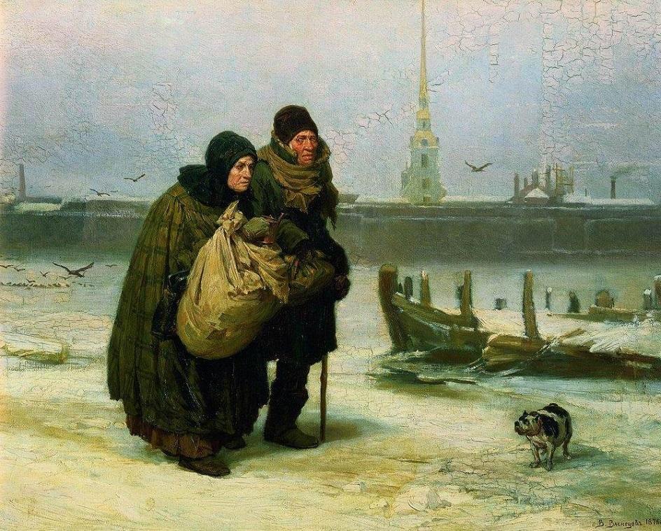 Река на картинах известных художников. Виктор Васнецов. «С квартиры на квартиру»