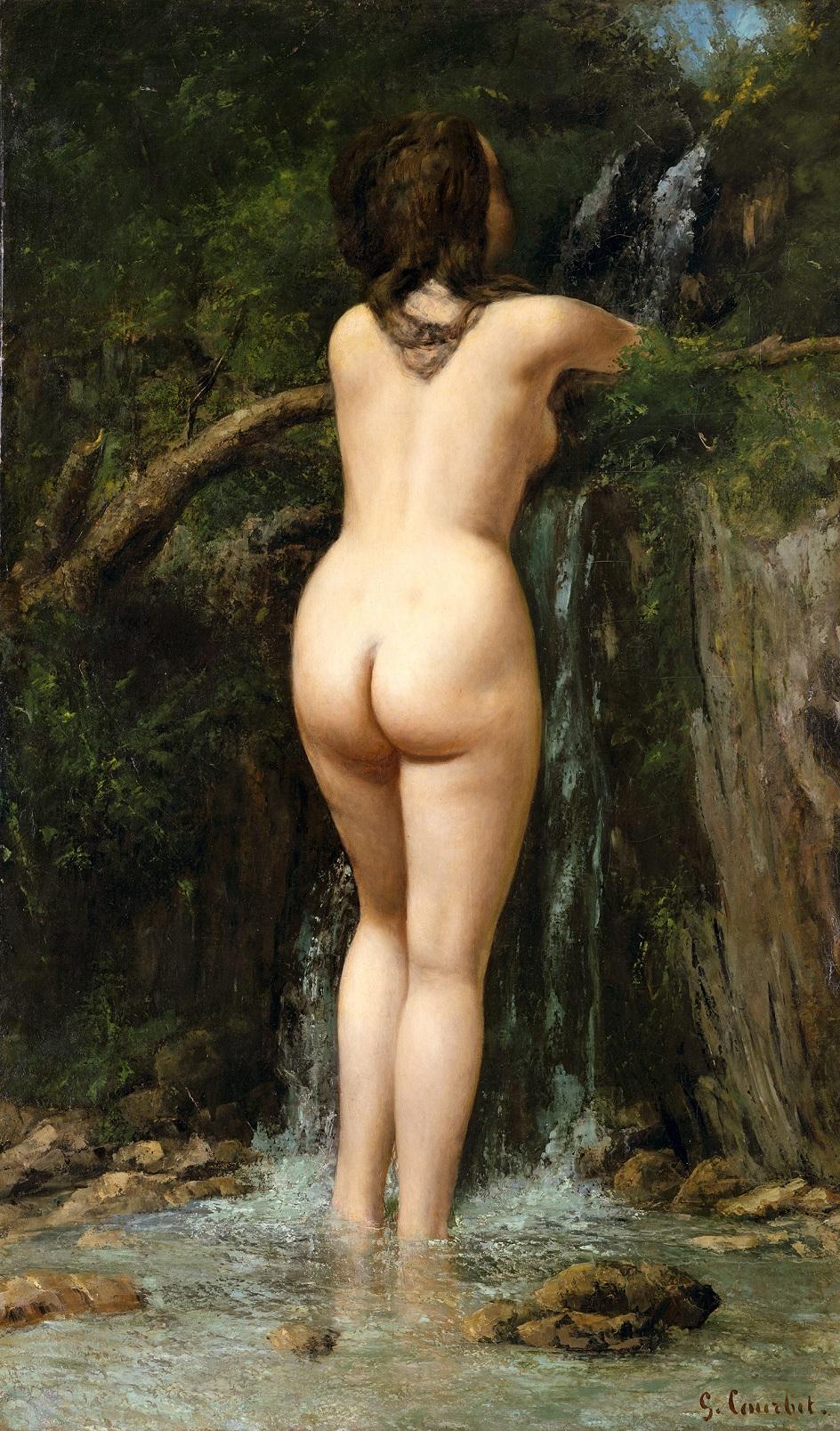 Река на картинах известных художников. Гюстав Курбе. «Купальщица»