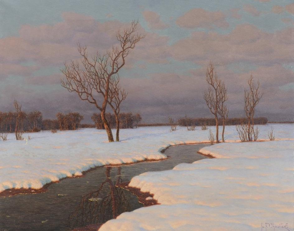 Река на картинах известных художников. Иван Шультце. «Зимний пейзаж с рекой»