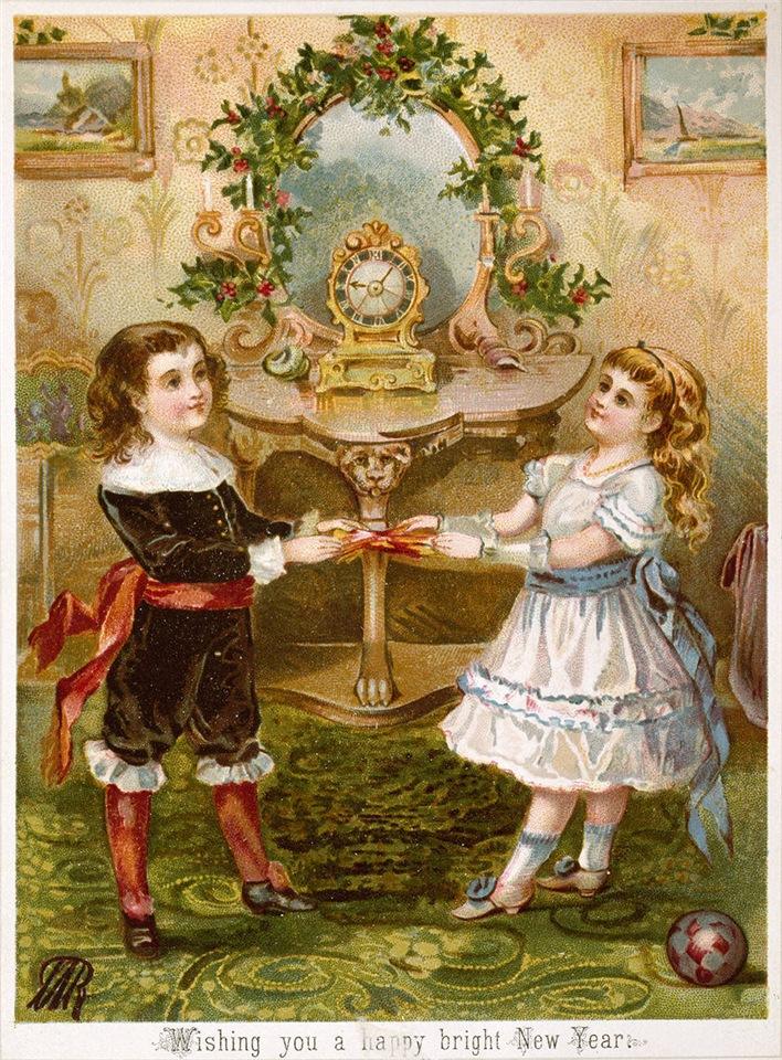 Рождество в Великобритании. Рождественская открытка с изображением мальчика и девочки, около 1880 года