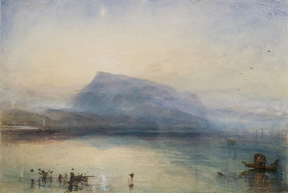 Горы на картинах известных художников. Уильям Тернер. «Гора Риги вид на Люцернское озеро на восходе»