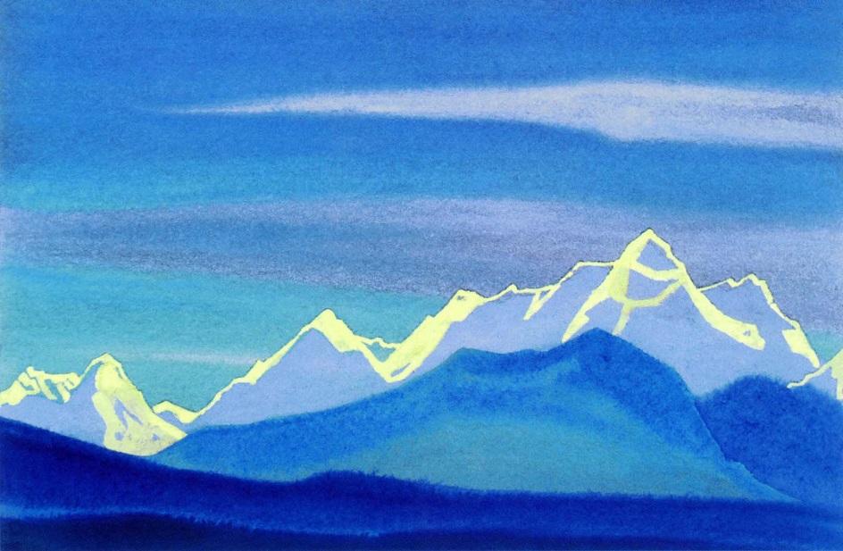 Горы на картинах известных художников. Николай Рерих. «Гималаи. Солнечный контур гор»