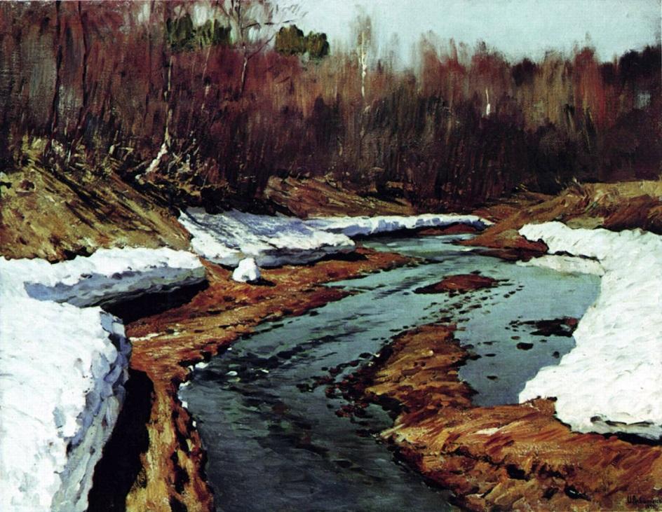 Водный пейзаж. Левитан. «Весна. Последний снег»