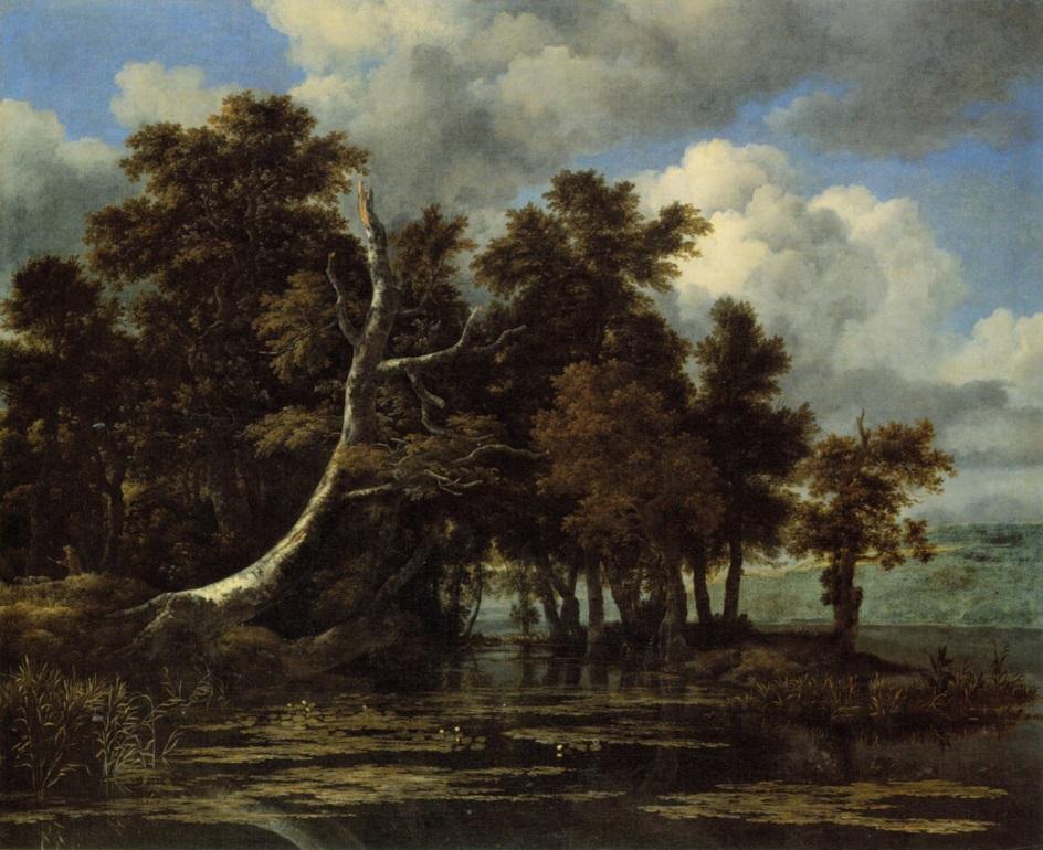 Вода в живописи. Якоб Исаакс ван Рёйсдал. «Дубы у озера с водяными лилиями»