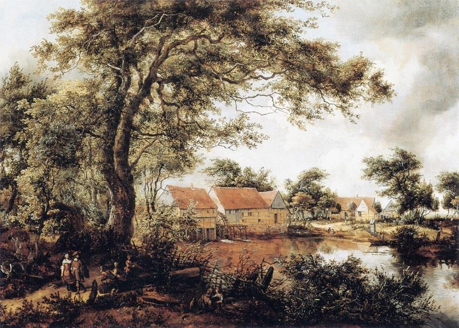 Вода на картине. Мейндерт Хоббема. «Деревня у озера»