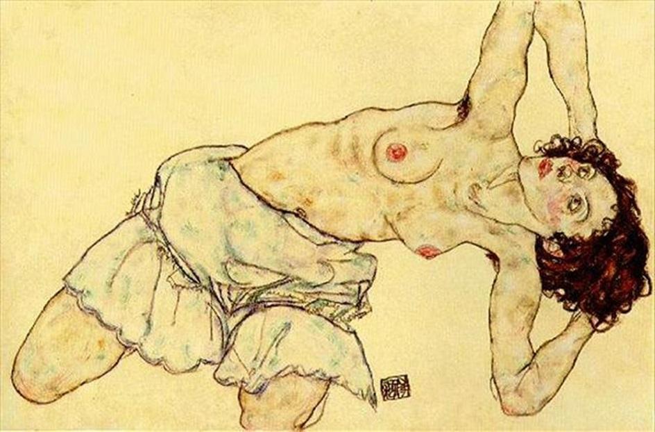 Картина в стиле ню. Эгон Шиле. «Обнаженная в юбке»