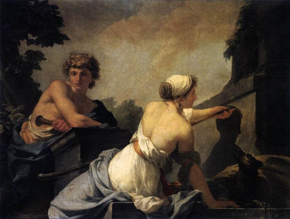 Жан-Батист Реньо. Картина «Происходжение живописи», 1785