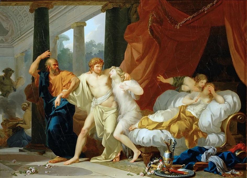 Жан-Батист Реньо. Картина «Сократ вырывает Алкивиада из объятий Сладострастия», 1791