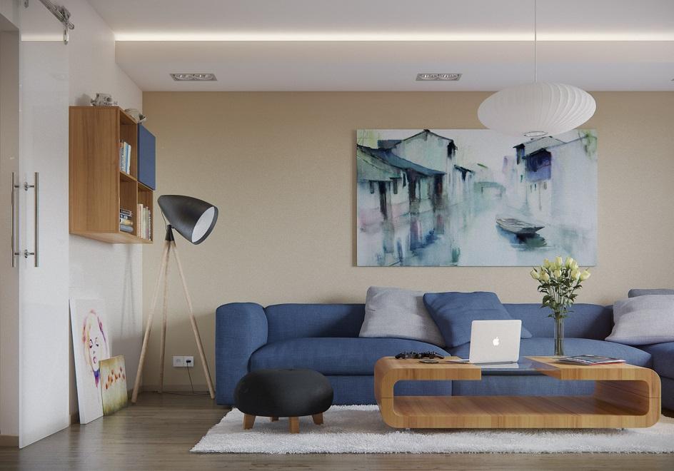 Стиль кэжуал в интерьере. Интерьер гостиной с голубым диваном и картиной в стиле кэжуал
