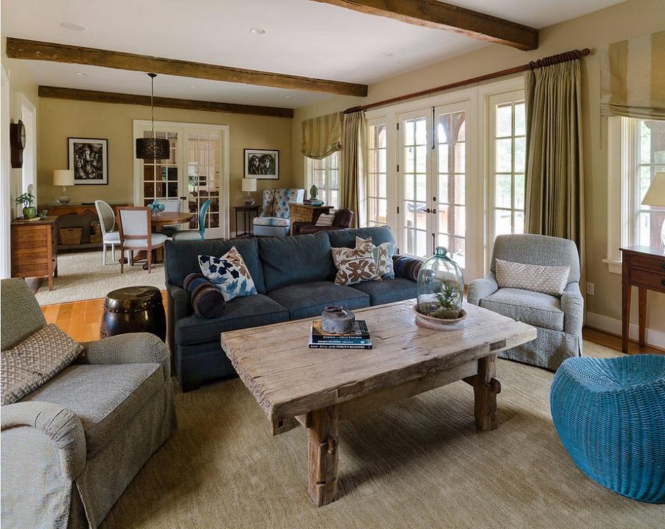 Стиль кэжуал в интерьере. Интерьер гостиной с массивным деревянным столом в стиле кэжуал