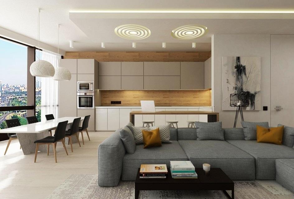 Стиль кэжуал в интерьере. Интерьер гостиной с панорамными окнами и огромным серым диваном в стиле кэжуал