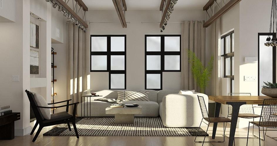 Стиль кэжуал в интерьере. Интерьер гостиной с полосатым ковром и окнами оригинальной формы в стиле кэжуал